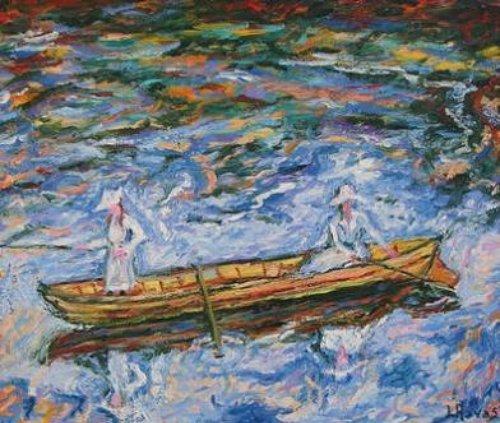 Partie de pêche sur la Seine 8F ( huile sur toile 38x 46 )